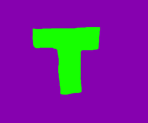 The letter T in green with a purple backround