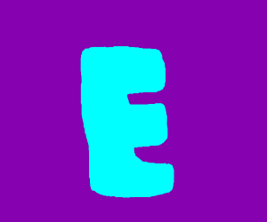 Neon blue E looking cool on purple background