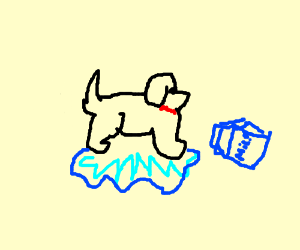 A dawg stands over blue milk