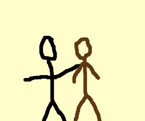 black stickman really care about brown one