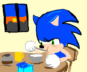 Sonic eats morning meal