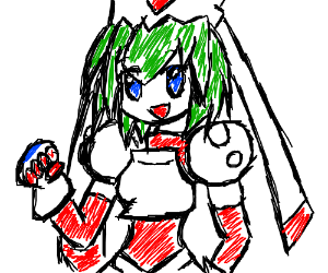 A really well drawn robot hatsune miku.