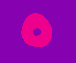 A pink donut on a purple background
