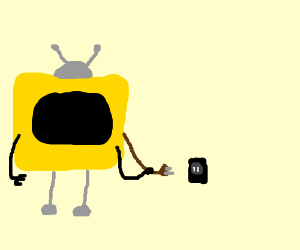Yellow television plugs itself in