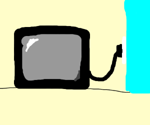 A TV plugged into a outlet