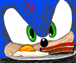sonic is mad at his breakfast
