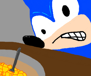 Angry Sonic glares at breakfast.