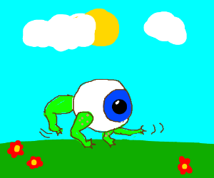 The eyeball-frog makes a leap for it!