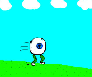 Eye ball running on 4 green legs on a field