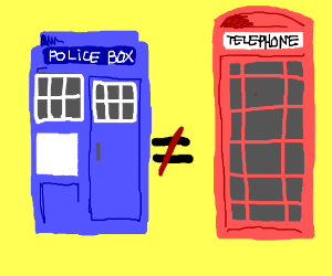 Police box is not equal to telephone booth