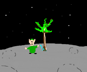 The elf grew a tree on the moon