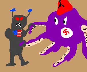 America-bot VS octopus with nazi fez
