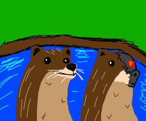 One of these otters is not an otter...