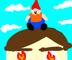 tinygnome standing on a firey eyed man's head