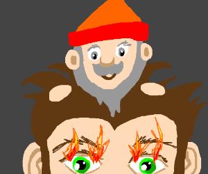 Cheerful gnome on my head sets my eyes ablaze
