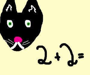 Black Kitty teaches Math, 2plus2is?