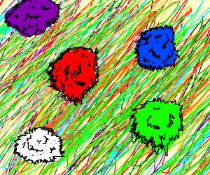 colorful tribbles w/ psychedelic back ground