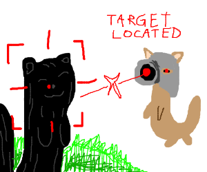 cyborg ferret aims at regular ferret