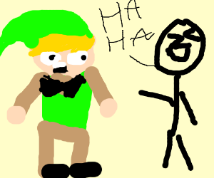 Lonk being laughed at for wearing swag bowtie