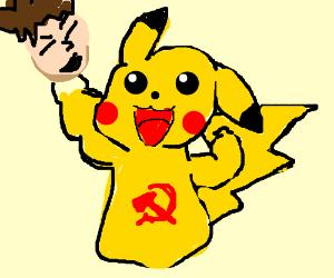 Muscular pikachu with soviet tattoo hold Brock