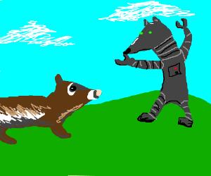 Cyborg Ferret attacks Real Ferret