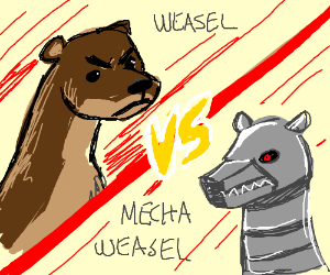 Weasel fights robot counterpart