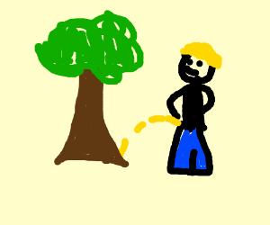 boy urinating on a tree