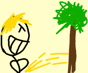 Blond guy peeing on a tree