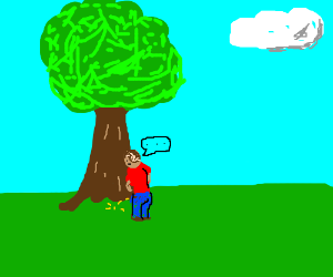 kid pissing on a tree