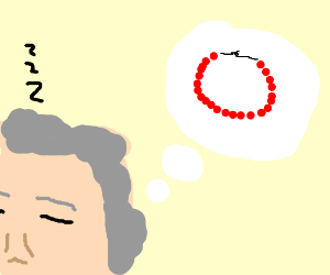 A sleeping man, dreams of a red pearl neckless