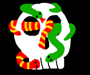 skull with snakes comingout