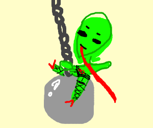green alien with long tounge on wrecking ball