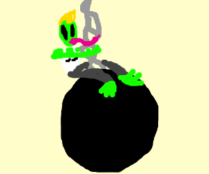 Alien Miley Cyrus swings from a wrecking ball
