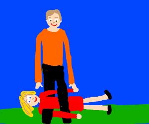 Tall man with blonde lady wrapped around legs