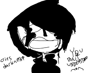 Edgy Emo Kid Cries Darkness
