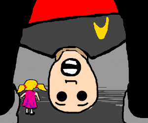star trek guy and a little girl under his legs