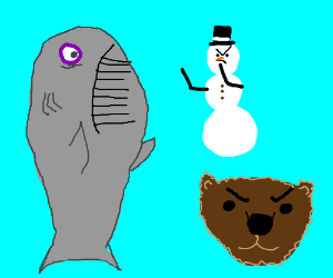 whale being bullied by a snowman and a bear