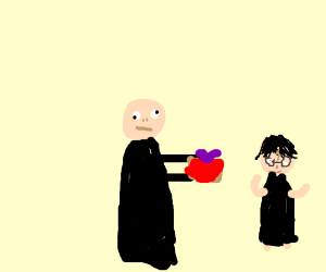 Voldemort gives Harry a present