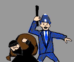 policeman beats robber with a baton