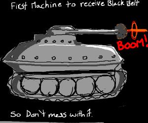 Army tank: first machine to receive black belt