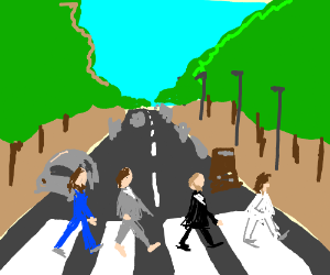 The beatles crossing that one street