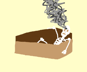 Skeleton smokes in his coffin
