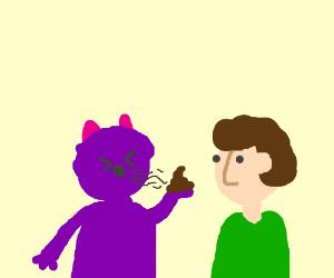 Purple horn blows Moose poop to Man's nose