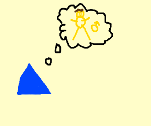 blue triangle thinks about yellow dude