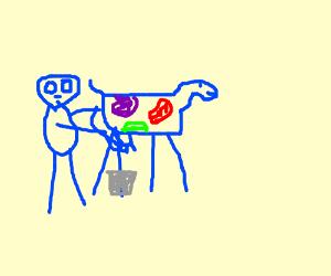 Blue alien milks space cow