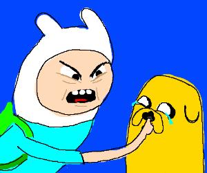 Angry Finn picks Jake's nose.