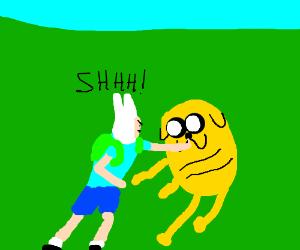 Finn FORCEFULLY shushes Jake.