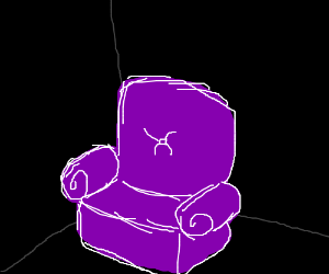 Purple velvet recliner in dark room