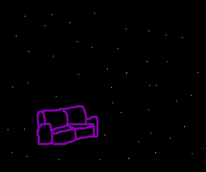 A violet sofa, in a dark place