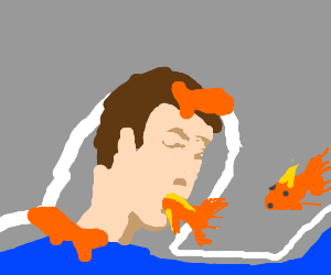 man killed by goldfish. I guess he's fin-ished